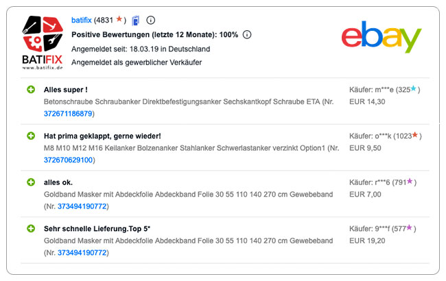 Bewertung ebay neu